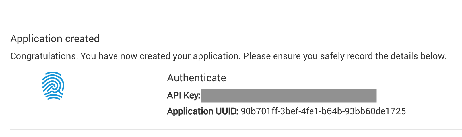 Haventec Console create authenticate application screenshot